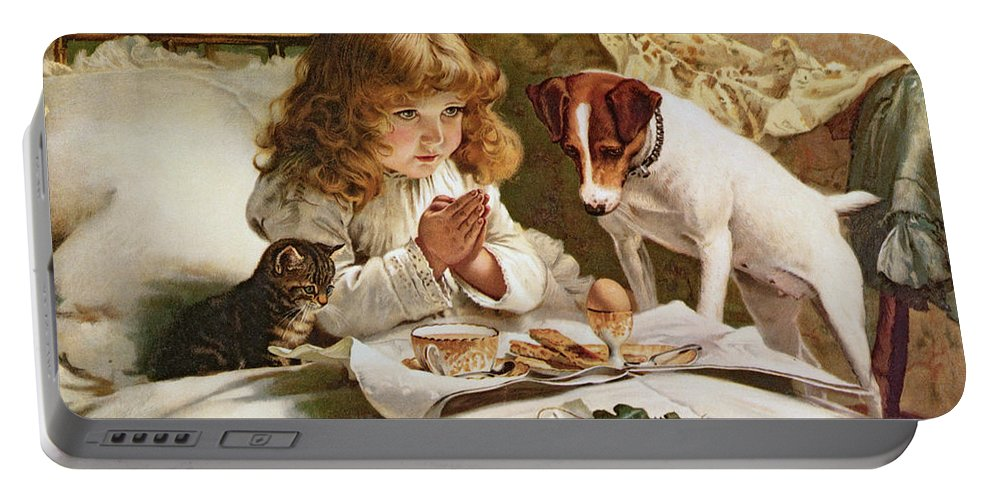 Suspense Portable Battery Charger featuring the painting Suspense by Charles Burton