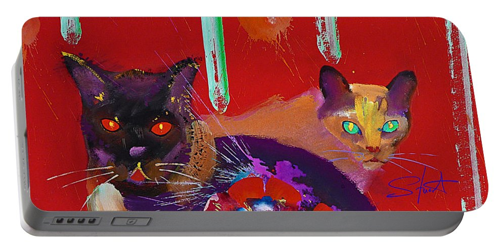 Cat Portable Battery Charger featuring the painting Suspicious Minds by Charles Stuart