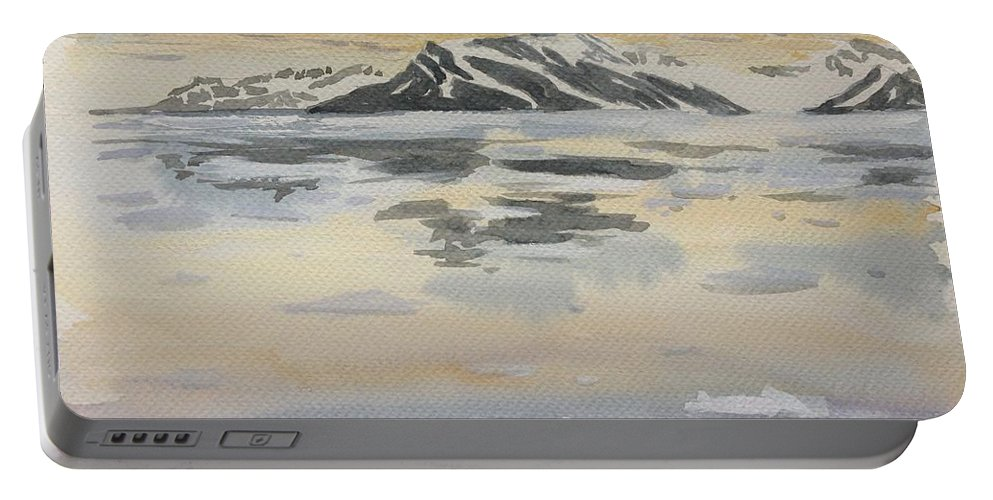 Seascape Portable Battery Charger featuring the painting Svalbard by Yvonne Ankerman