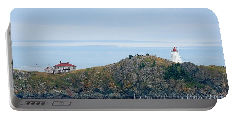Lighthouse Portable Battery Charger featuring the photograph Swallowtail Lighthouse And Keeper by Thomas Marchessault
