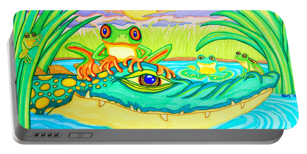Frog Portable Battery Charger featuring the drawing Swamp Life by Nick Gustafson