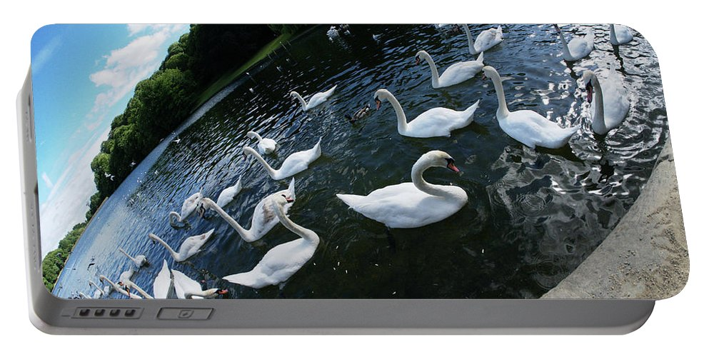White Portable Battery Charger featuring the photograph Swan Lake by James Golding