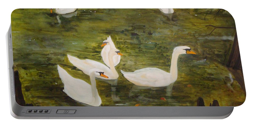Swan Portable Battery Charger featuring the painting Swan Lake by Jean Blackmer