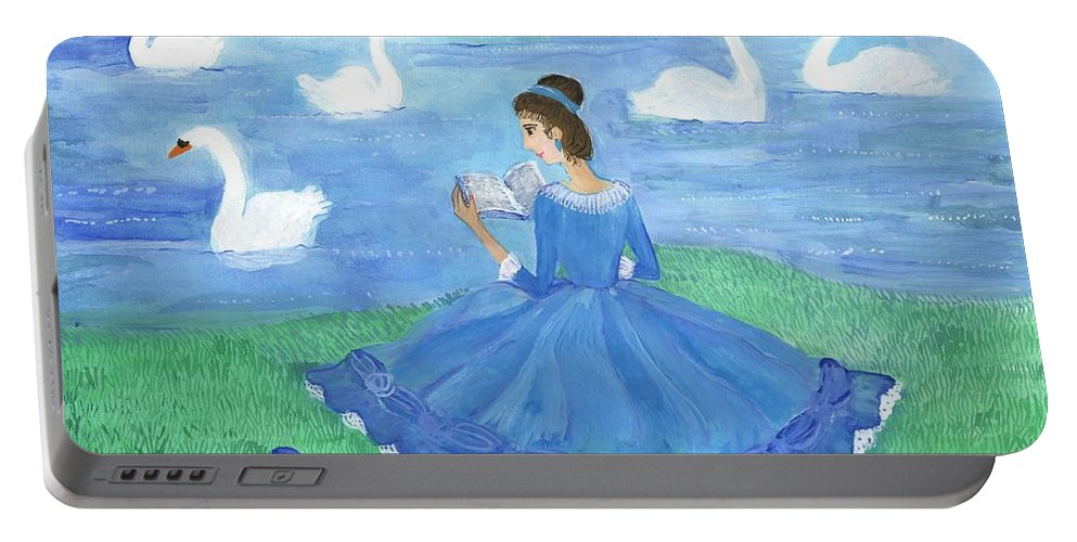 Swan Portable Battery Charger featuring the painting Swan Lake Reader by Sushila Burgess