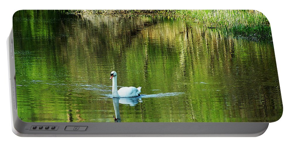 Irish Portable Battery Charger featuring the photograph Swan On The Cong River Cong Ireland by Teresa Mucha