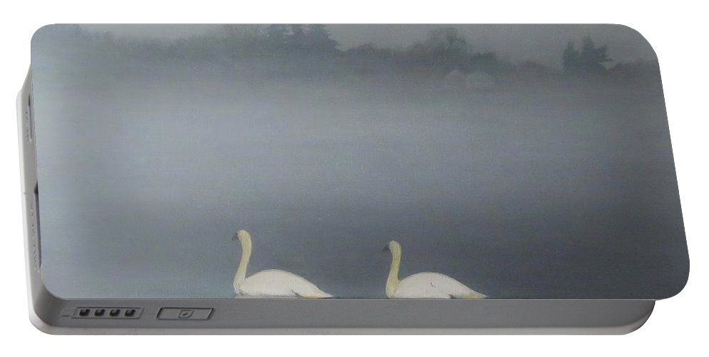 Pond Portable Battery Charger featuring the painting Swans On Misty Pond by Dennis Kirby