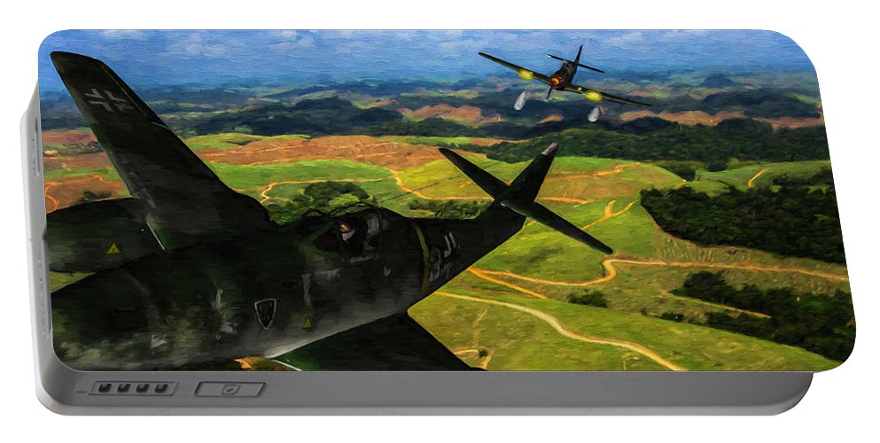 Messerschmitt Me-262 Swallow Portable Battery Charger featuring the digital art Swatting Down A Swallow - Oil by Tommy Anderson
