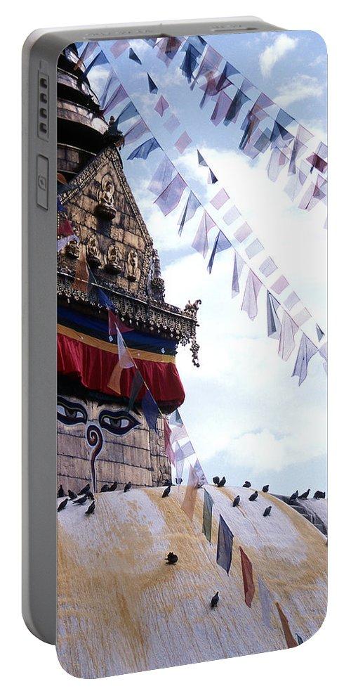 Swayambhunath Stupa Portable Battery Charger featuring the photograph Swayambhunath II by Patrick Klauss