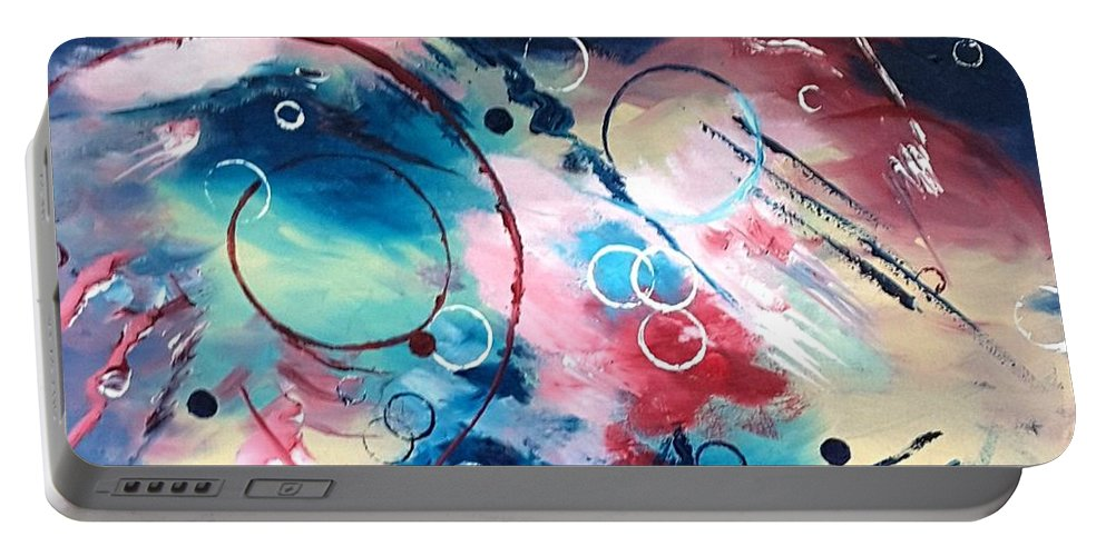 Abstract Portable Battery Charger featuring the painting Sweeping Breeze by Vikki McGuire