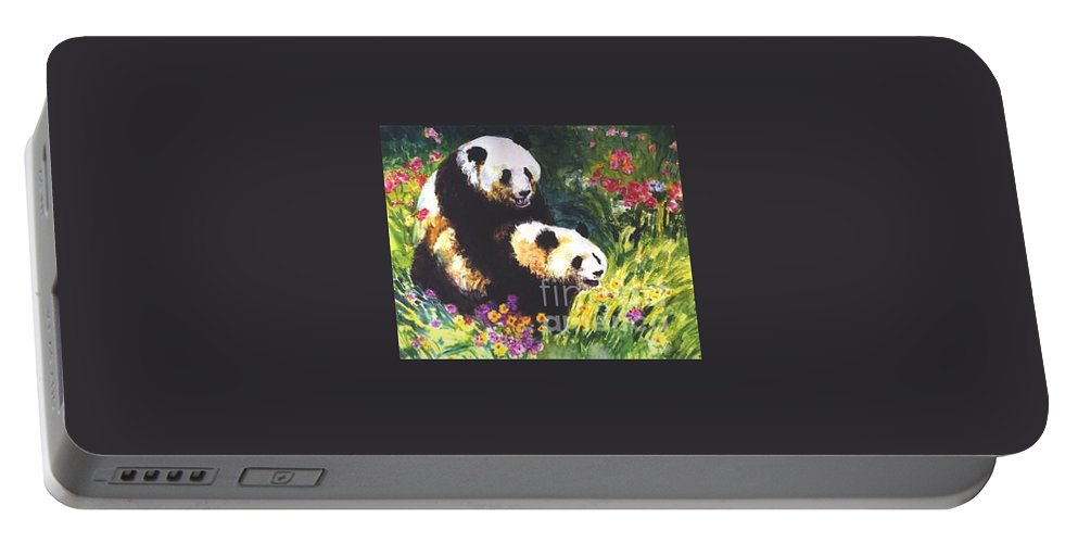 Panda Portable Battery Charger featuring the painting Sweet As Honey by Guanyu Shi