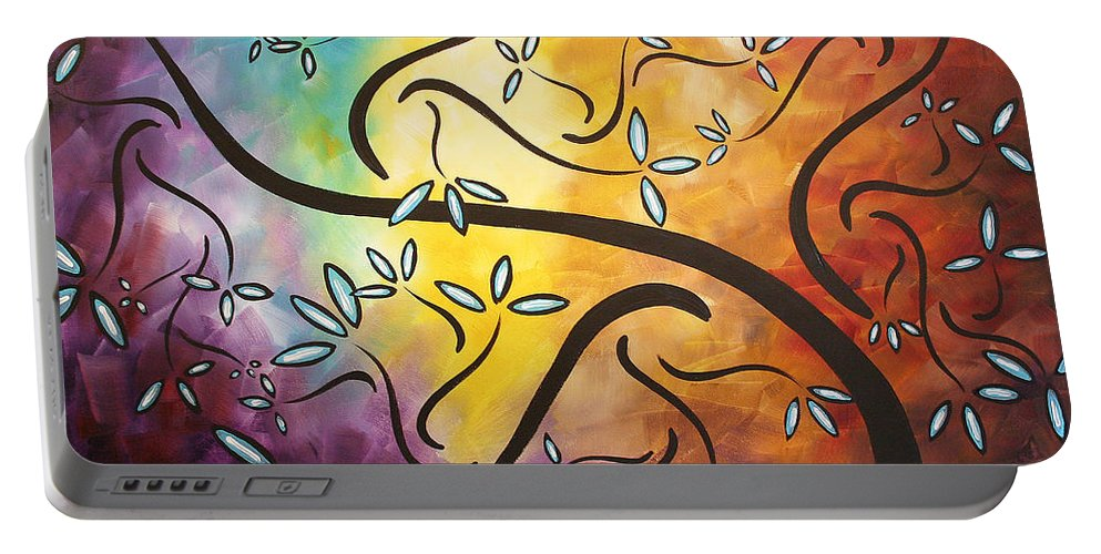 Abstract Portable Battery Charger featuring the painting Sweet Blossom By Madart by Megan Duncanson
