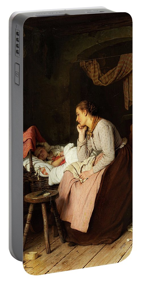 Children Portable Battery Charger featuring the painting Sweet Dream by Johann Georg Meyer von Bremen