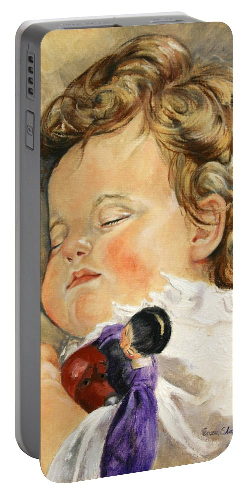 Children Portraits Portable Battery Charger featuring the painting Sweet Dreams by Portraits By NC