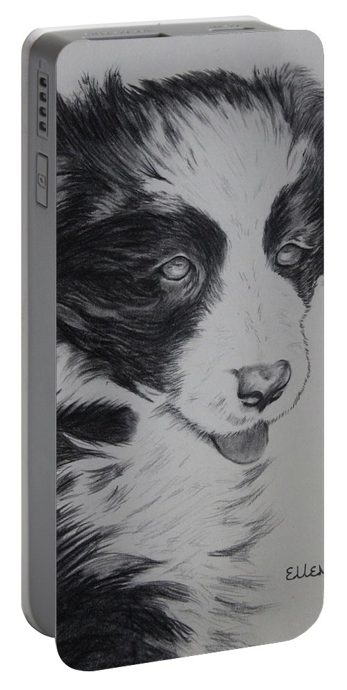 Puppy Portable Battery Charger featuring the drawing Sweet Girl Border Collie Puppy by Ellen Moss