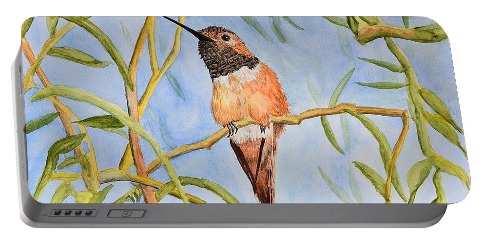 Linda Brody Portable Battery Charger featuring the painting Sweet Hummingbird by Linda Brody