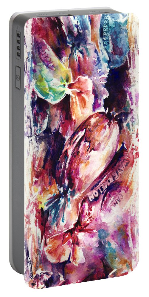 Abstract Portable Battery Charger featuring the painting Sweet Memories by Rachel Christine Nowicki