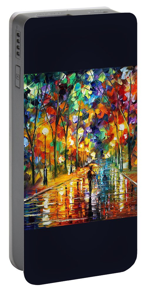 Afremov Portable Battery Charger featuring the painting Sweet Night by Leonid Afremov