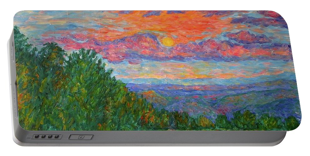 Landscapes For Sale Portable Battery Charger featuring the painting Sweet Pea Morning on the Blue Ridge by Kendall Kessler