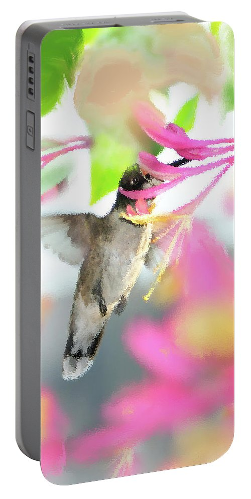 Ruby-throated Hummingbird Portable Battery Charger featuring the photograph Sweet Surprise by Betty LaRue