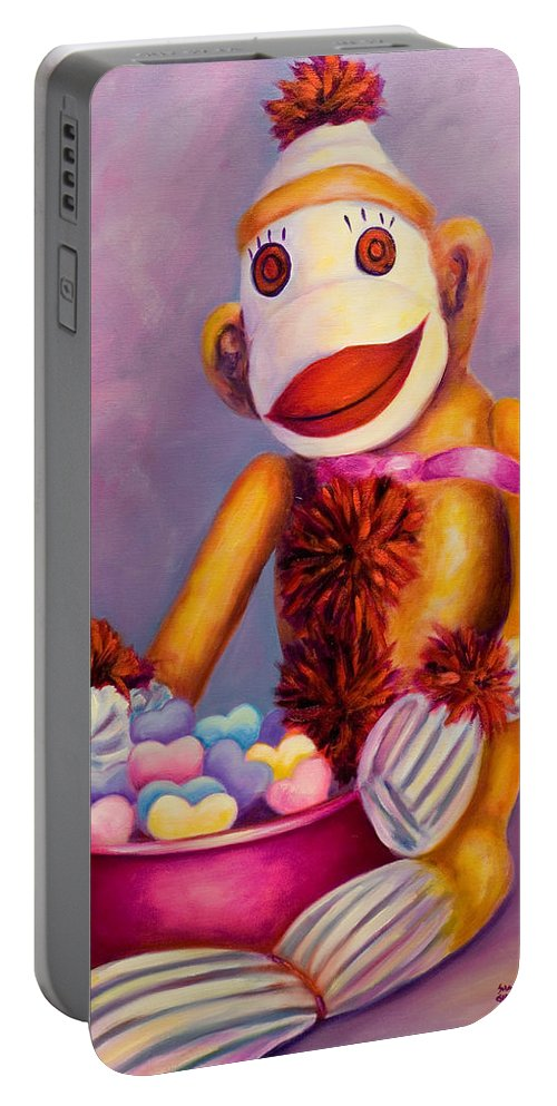 Heart Portable Battery Charger featuring the painting Sweetheart Made Of Sockies by Shannon Grissom