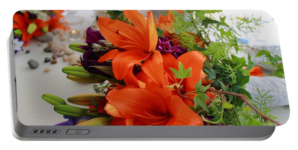 Flower Portable Battery Charger featuring the photograph Sweetheart Table by Jeff Heimlich