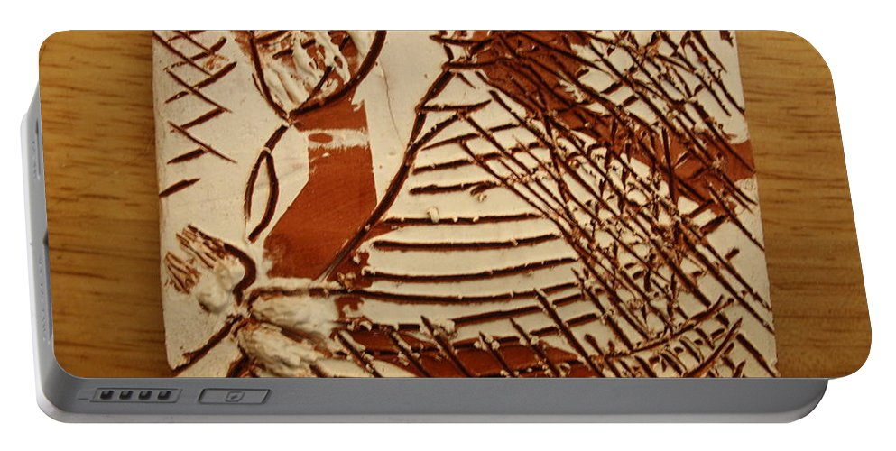 Jesus Portable Battery Charger featuring the ceramic art Sweethearts 11 -tile by Gloria Ssali