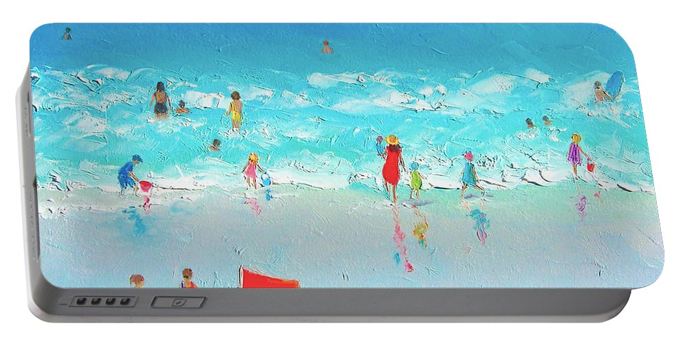 Beach Portable Battery Charger featuring the painting Swim Day by Jan Matson