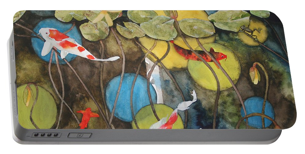 Abstract Portable Battery Charger featuring the painting Swimming In Circles by Jean Blackmer