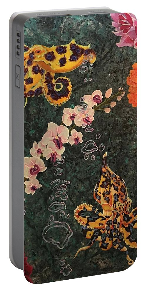 Octopus Portable Battery Charger featuring the painting Swimming Through Flowers by Jordan Ferraton