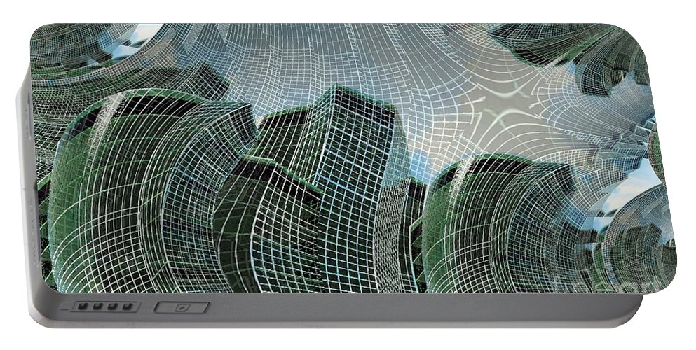 Glass Tower Portable Battery Charger featuring the digital art Swing City by Ron Bissett