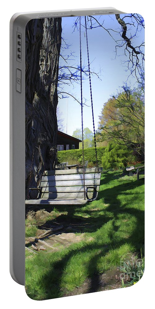 Spring Portable Battery Charger featuring the photograph Swing In Spring by Deborah Benoit