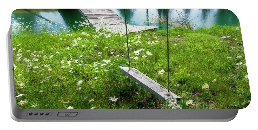 Bridge Portable Battery Charger featuring the photograph Swing In The Daisies With Bridge by David Arment