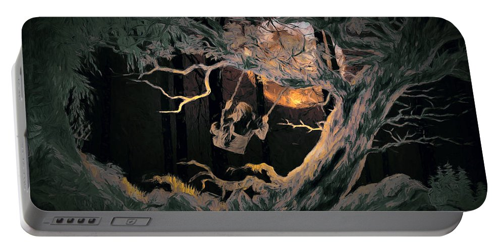 Forest Portable Battery Charger featuring the digital art Swinging Through The Forest By Moonlight by John Haldane