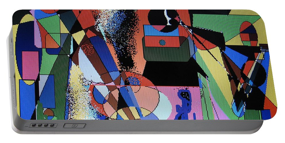 Jazz Portable Battery Charger featuring the digital art Swinging Trio by Ian MacDonald