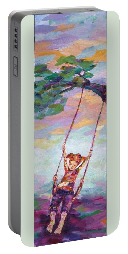 Child Swinging Portable Battery Charger featuring the painting Swinging With Sunset Energy by Naomi Gerrard