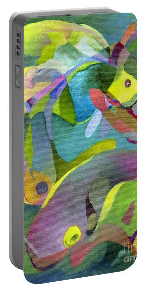 Fish Portable Battery Charger featuring the painting Swirling Fish by Sally Trace