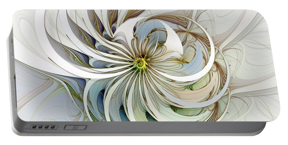 Digital Art Portable Battery Charger featuring the digital art Swirling Petals by Amanda Moore