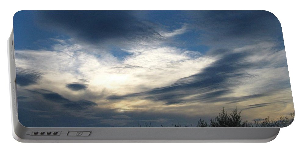 Sky Portable Battery Charger featuring the photograph Swirling Skies by Rhonda Barrett