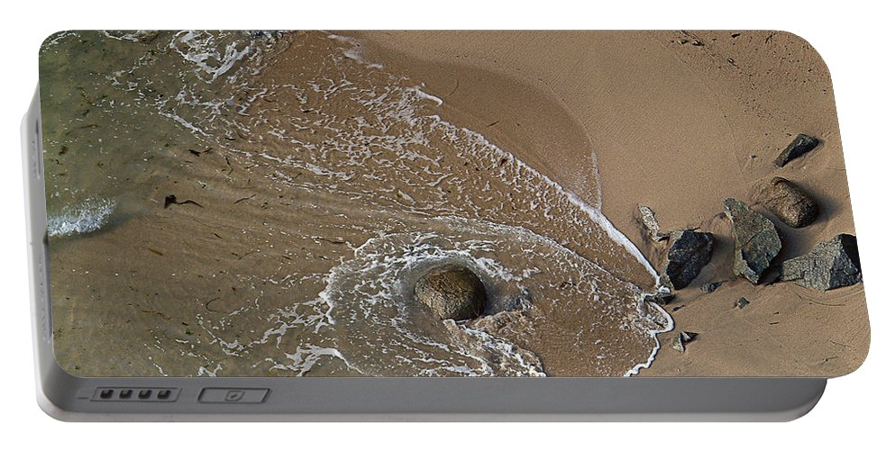 Big Sur Portable Battery Charger featuring the photograph Swirling Surf And Rocks by Charlene Mitchell