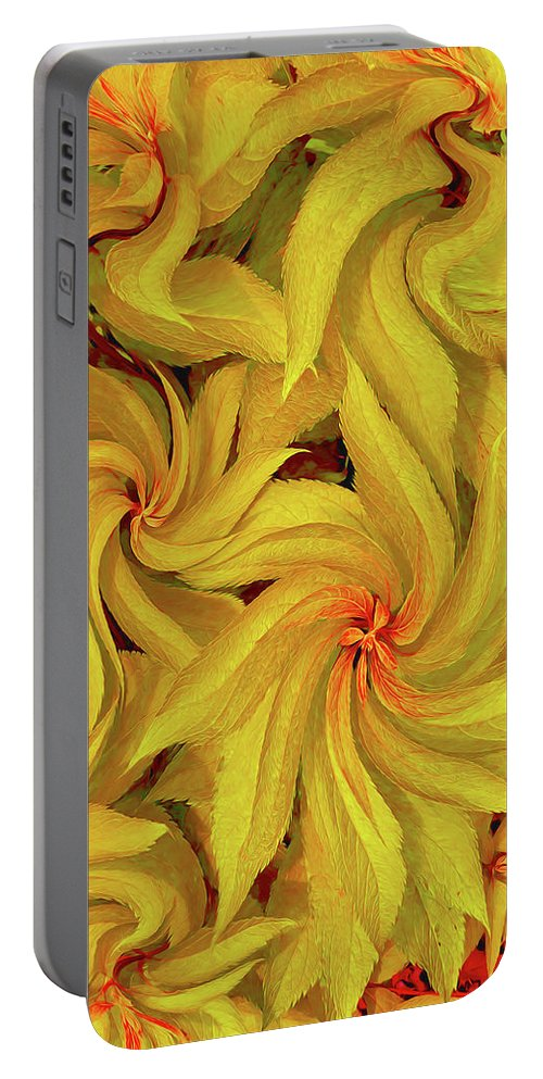 Flora Portable Battery Charger featuring the photograph Swirly, Yellow Leaves by Tom Hageman