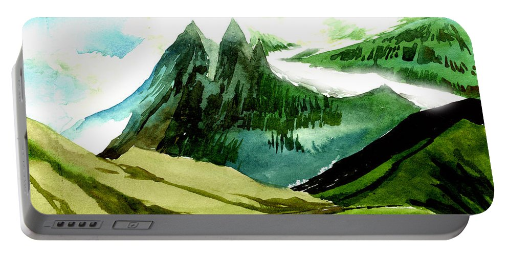 Landscape Portable Battery Charger featuring the painting Switzerland by Anil Nene