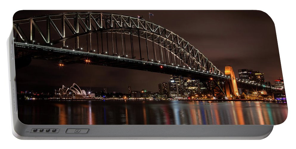 Sydney Portable Battery Charger featuring the photograph Sydney Harbor At Night With Train by John Daly