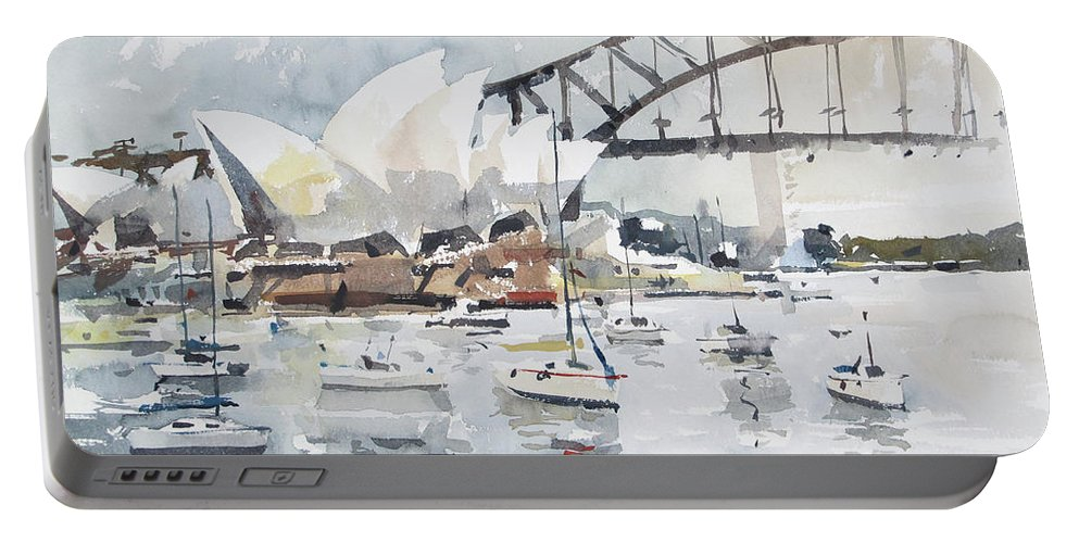 Watercolour Portable Battery Charger featuring the painting Sydney Opera by Tony Belobrajdic