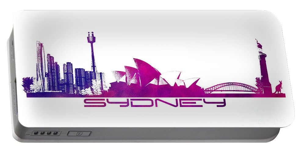 Sydney Portable Battery Charger featuring the digital art Sydney Skyline Purple by Justyna JBJart