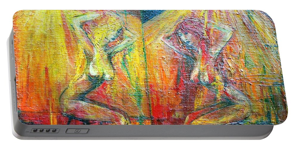 Colour Portable Battery Charger featuring the painting Symmetry by Wojtek Kowalski