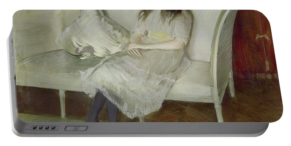 Symphony Portable Battery Charger featuring the painting Symphony In White by Paul Cesar Helleu