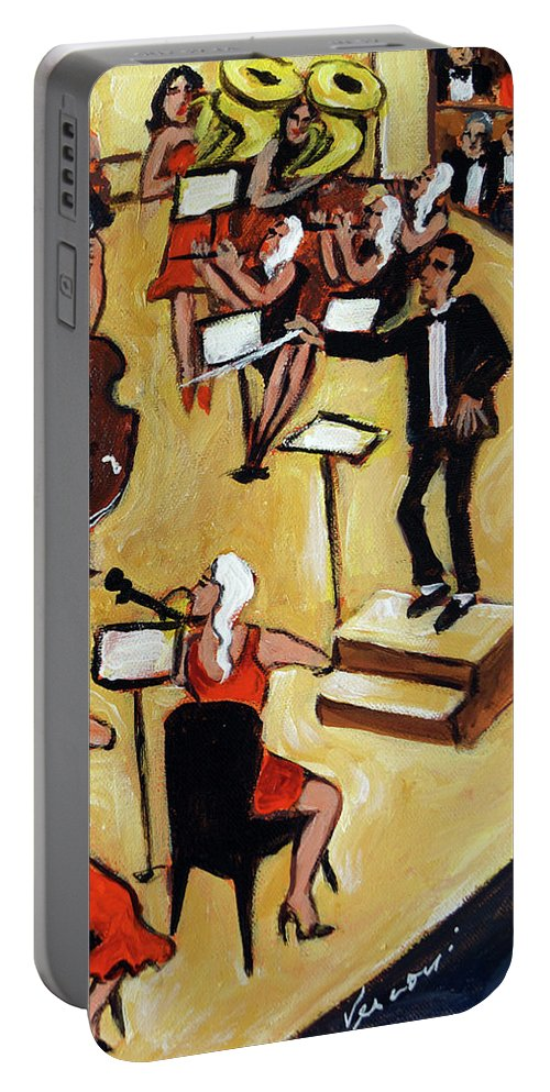 Carnegie Hall Orchestra Portable Battery Charger featuring the painting Symphony by Valerie Vescovi