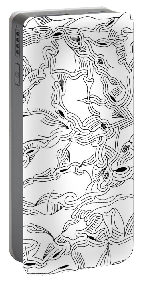 Mazes Portable Battery Charger featuring the drawing Synapses by Steven Natanson