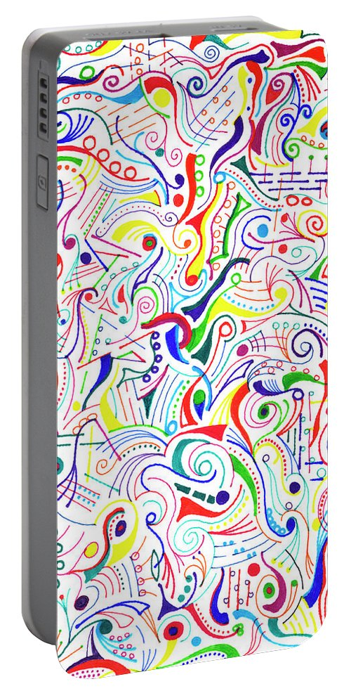 Mazes Portable Battery Charger featuring the drawing Synesthesia by Steven Natanson