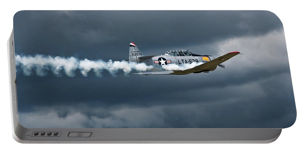 T-6 Texan Portable Battery Charger featuring the photograph T-6 Texan Smoke On by Bruce Beck